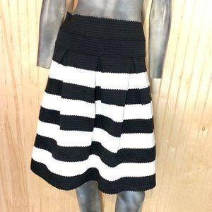 Ann Taylor Skirt Textured Black White Striped 10